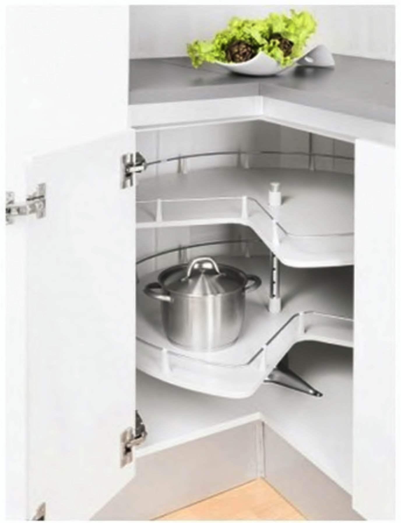 2 Shelf Carousel In White Mdf For The 90x90 Corner Base Cabinet Faktum Online Store